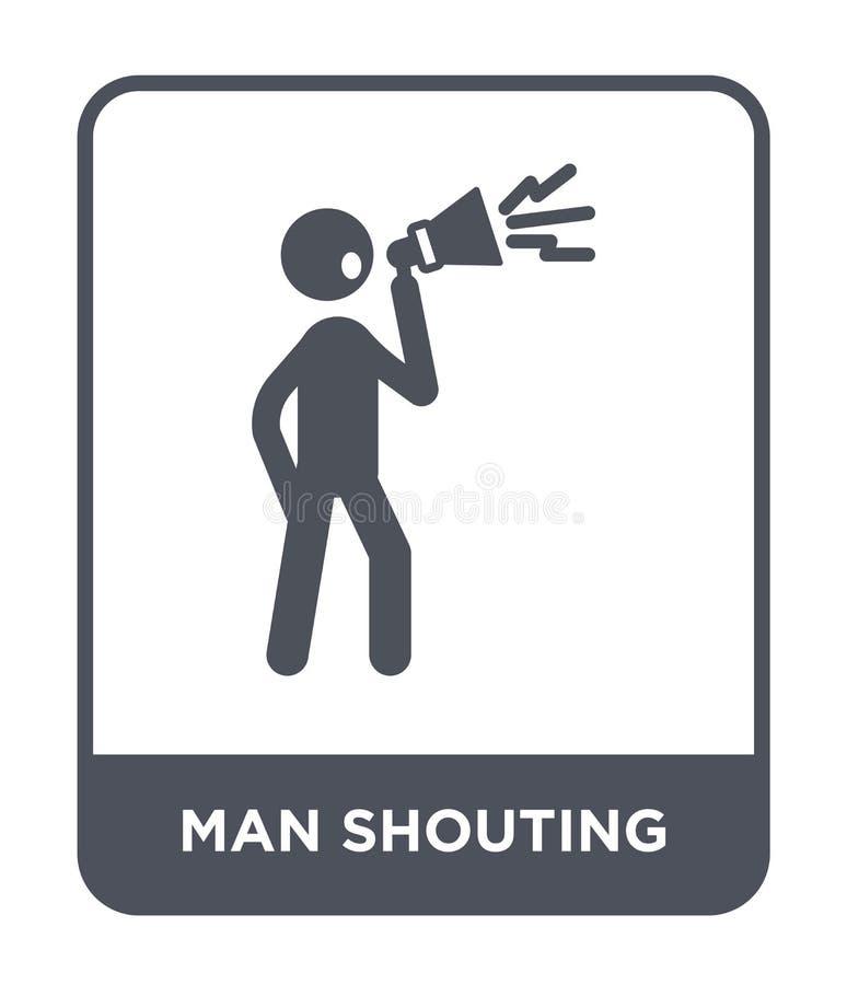 ícone da gritaria do homem no estilo na moda do projeto ícone da gritaria do homem isolado no fundo branco ícone do vetor da grit ilustração royalty free