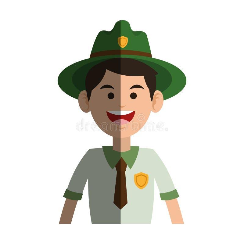 Ícone da guarda florestal da floresta ilustração stock