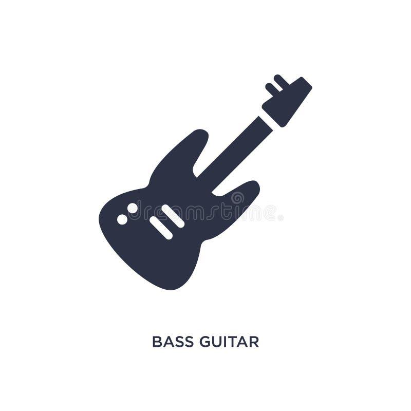 ícone da guitarra-baixo no fundo branco Ilustração simples do elemento do conceito da música ilustração do vetor