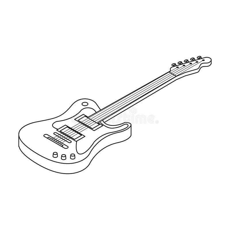 Ícone da guitarra elétrica no estilo do esboço isolado no fundo branco Ilustração do vetor do estoque do símbolo dos instrumentos ilustração do vetor