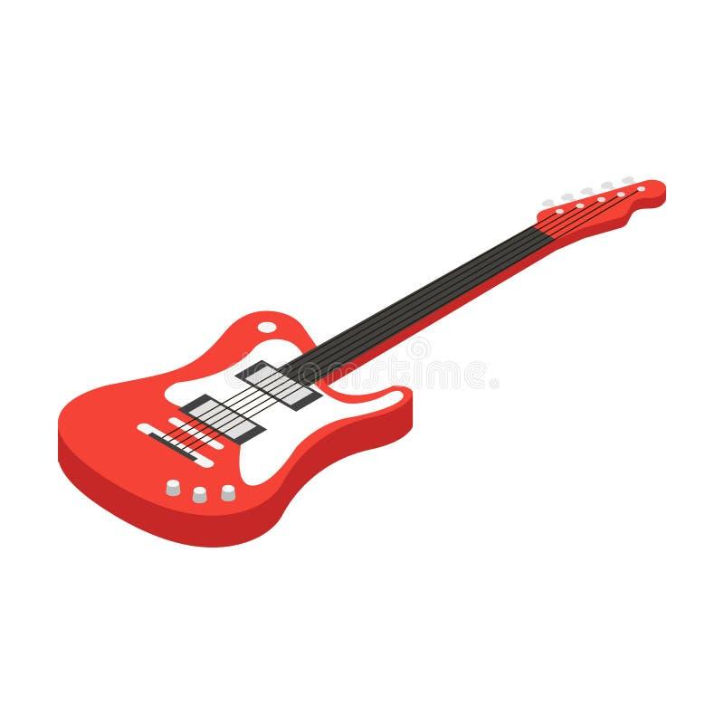 Ícone da guitarra elétrica no estilo dos desenhos animados isolado no fundo branco Ilustração do vetor do estoque do símbolo dos  ilustração royalty free