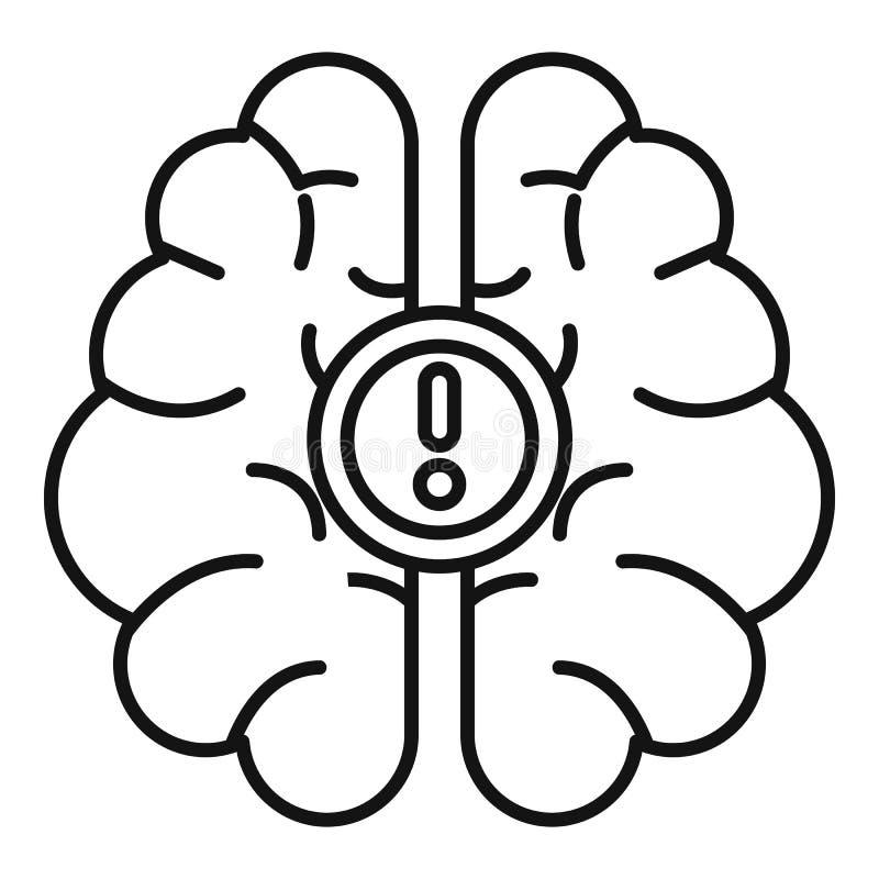 Ícone da ideia do cérebro, estilo do esboço ilustração do vetor