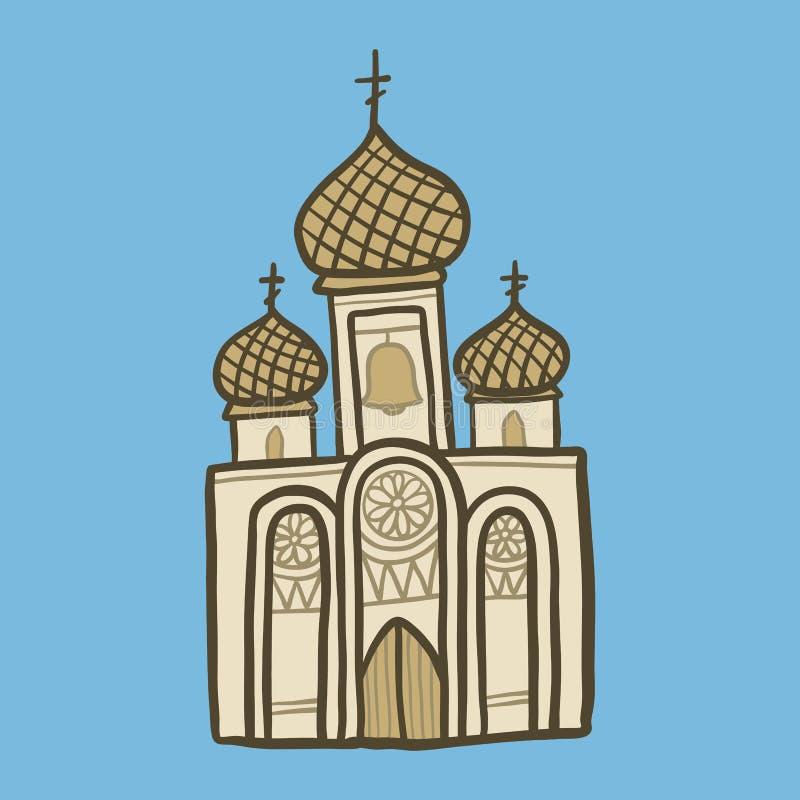 Ícone da igreja cristã, estilo tirado mão ilustração do vetor