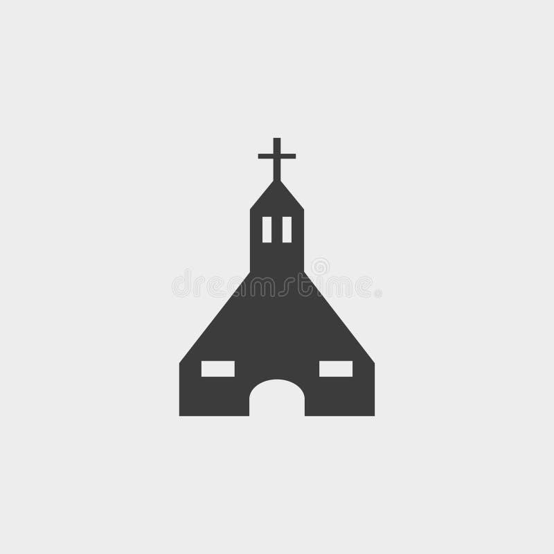 Ícone da igreja em um projeto liso na cor preta Ilustração EPS10 do vetor ilustração royalty free