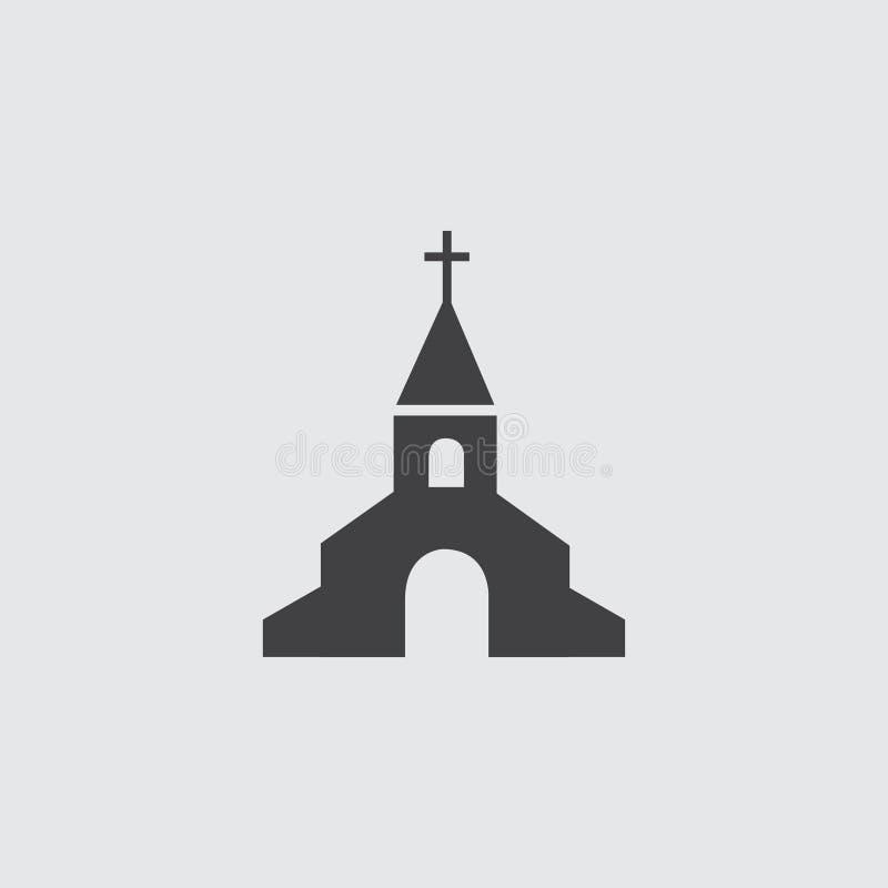 Ícone da igreja em um projeto liso na cor preta Ilustração EPS10 do vetor ilustração stock