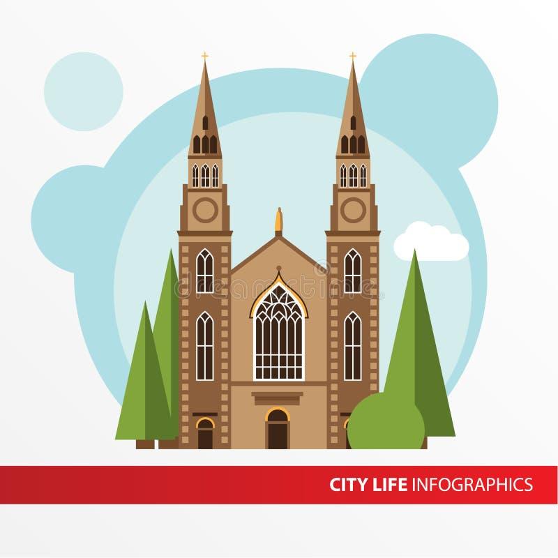 Ícone da igreja no estilo liso Igreja de Roman Catholic Conceito para a cidade infographic ilustração do vetor