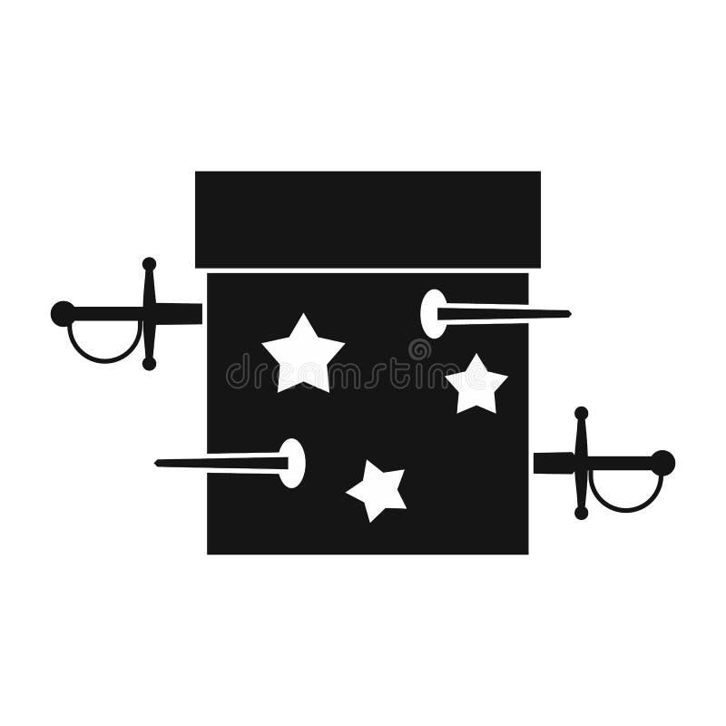 Ícone da ilusão da caixa da espada, estilo simples ilustração royalty free