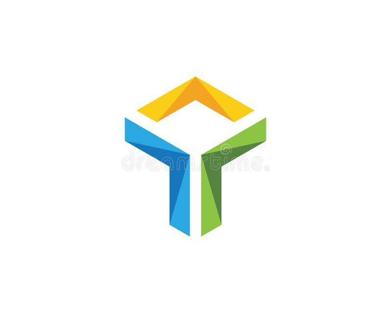 Ícone da ilustração de T Logo Hexagon ilustração do vetor