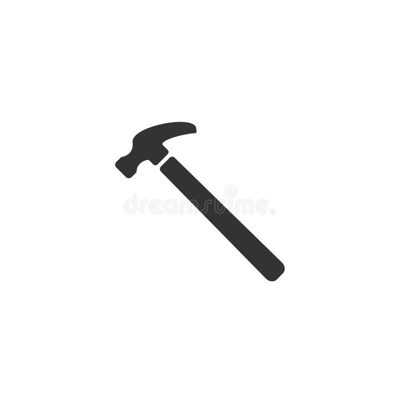 Ícone da ilustração do martelo de aço Símbolo do sinal da ferramenta do reparo da casa ilustração royalty free
