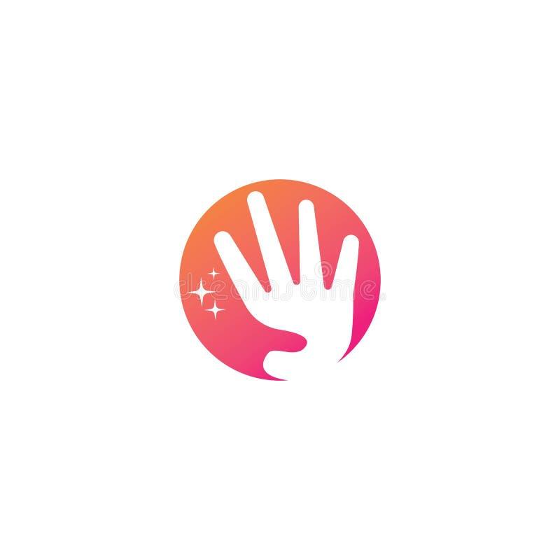 Ícone da ilustração do vetor do molde do projeto do logotipo do cuidado da mão ilustração royalty free