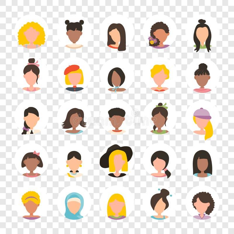 Ícone da imagem do perfil do avatar do usuário ajustado no círculo que inclui a fêmea Caráteres dos povos no fundo transparente ilustração do vetor