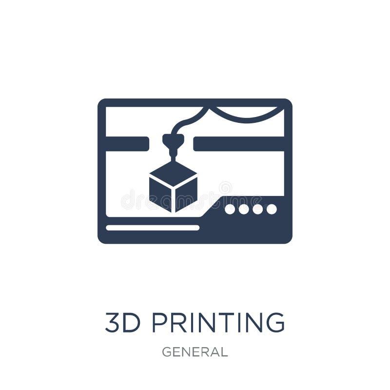 ícone da impressão 3d Ícone liso na moda da impressão do vetor 3d em b branco ilustração stock