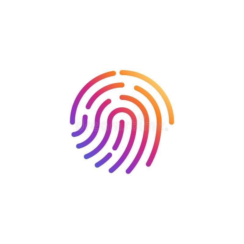 Ícone da impressão digital do vetor Forma do símbolo da impressão digital da cor Sinal biométrico da segurança Botão da relação E ilustração stock