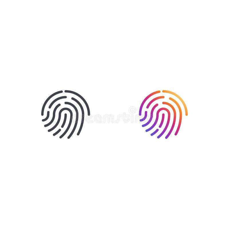 Ícone da impressão digital do vetor Forma do símbolo de duas impressões digitais Sinal biométrico da segurança Botão da relação E ilustração do vetor