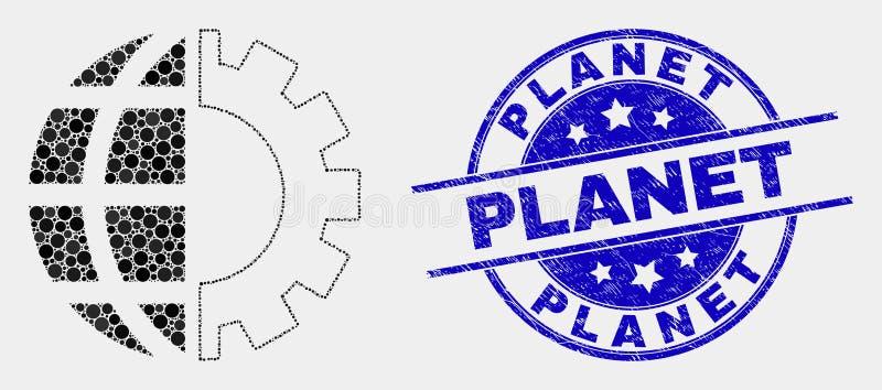 Ícone da indústria e selo globais pontilhados vetor do planeta do Grunge ilustração stock