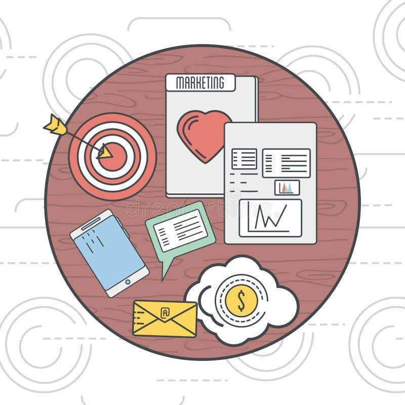 Ícone da informação do negócio do mercado do emblema ilustração do vetor