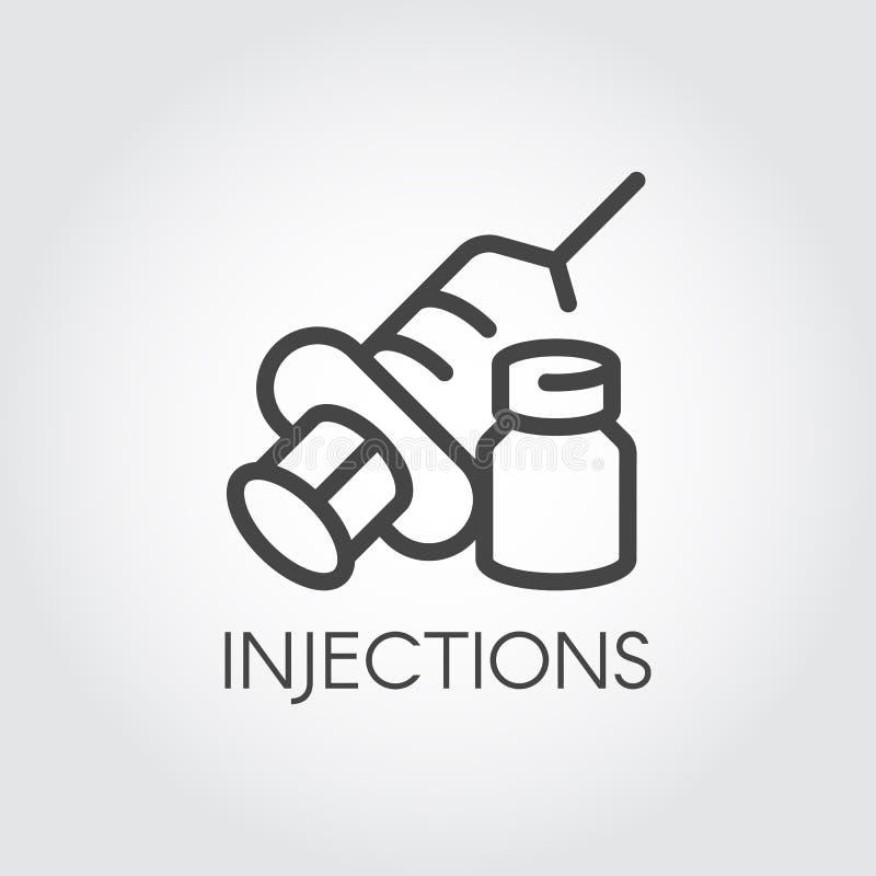 Ícone da injeção Sinal da seringa do contorno com agulha e medicamentação Símbolo médico, vacinação, conceito do tratamento ilustração stock