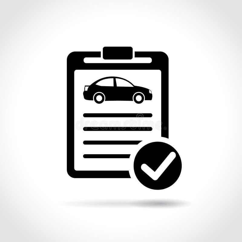 Ícone da inspeção do carro no fundo branco ilustração stock