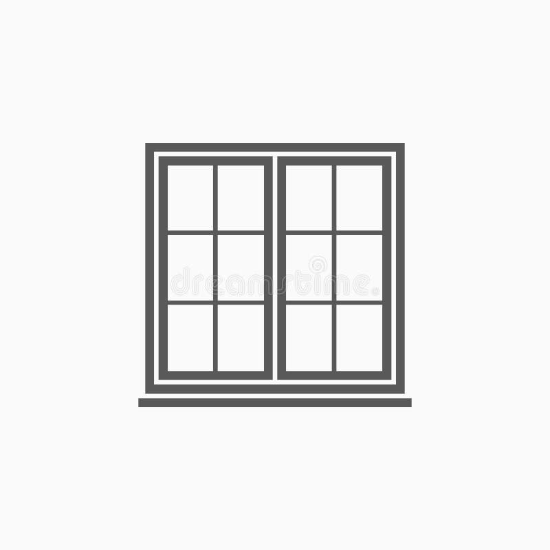 Ícone da janela, caixilho, casa, vidro ilustração stock