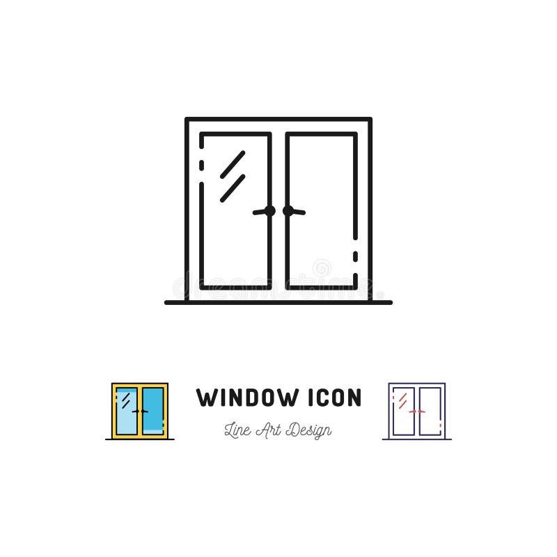 Ícone da janela, linha símbolo do vetor da arte ilustração do vetor