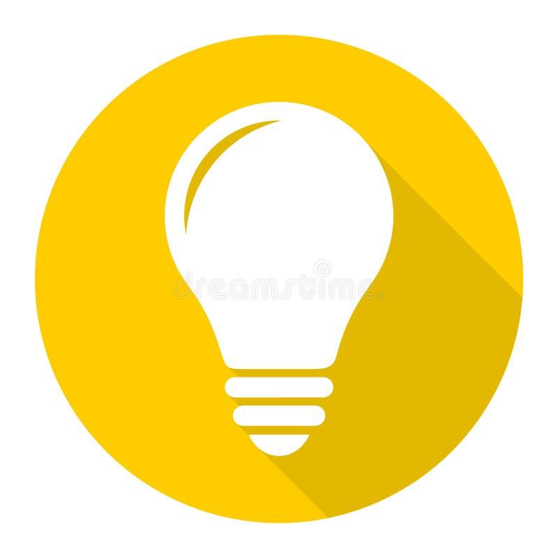 Ícone da lâmpada, ícone do bulbo com sombra longa ilustração stock