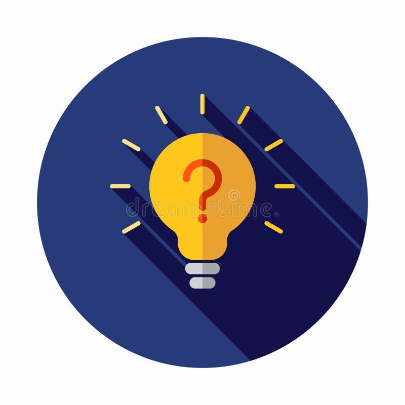 Ícone da lâmpada da ampola com ponto de interrogação para dentro ilustração royalty free