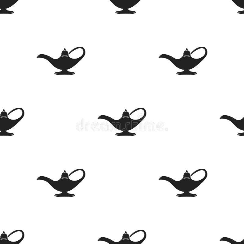 Ícone da lâmpada de óleo no estilo preto isolado no fundo branco Ilustração árabe do vetor do estoque do teste padrão dos emirado ilustração royalty free