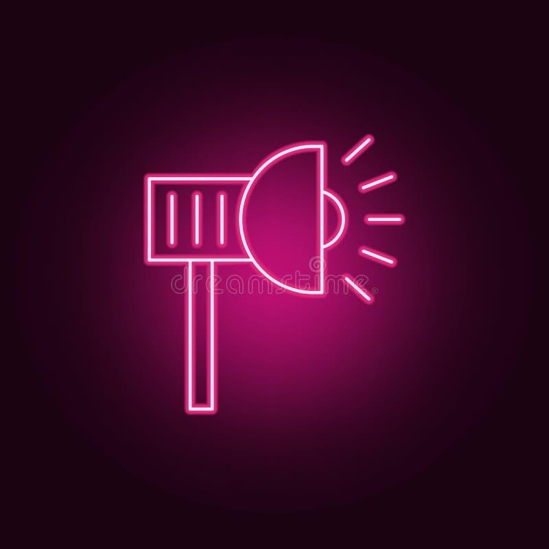 Ícone da lâmpada de rua Elementos do projetor nos ícones de néon do estilo Ícone simples para Web site, design web, app móvel, gr ilustração stock