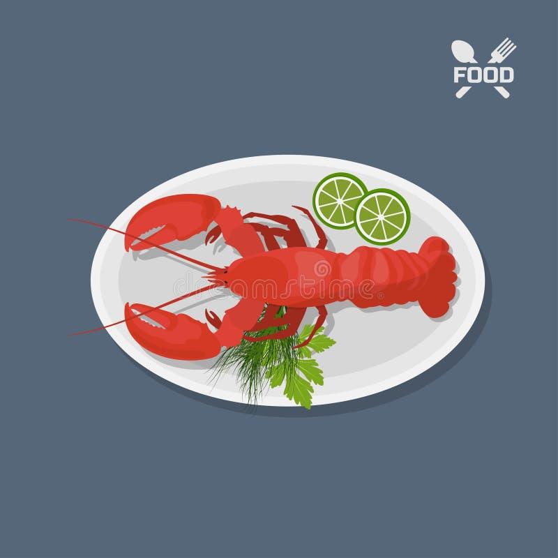 Ícone da lagosta com cal em uma placa Vista superior Prato do restaurante Marisco Imagem do langust ilustração royalty free