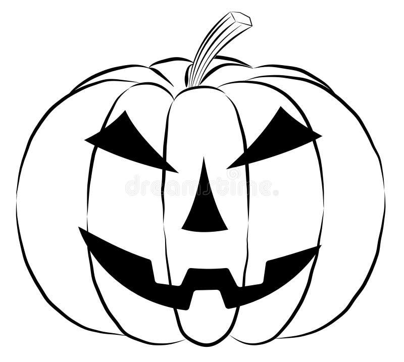 Ícone da lanterna da abóbora no estilo do esboço no fundo branco ilustração royalty free