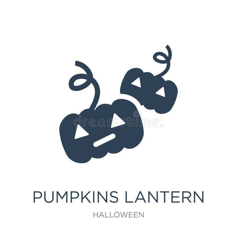 ícone da lanterna das abóboras no estilo na moda do projeto ícone da lanterna das abóboras isolado no fundo branco ícone do vetor ilustração stock