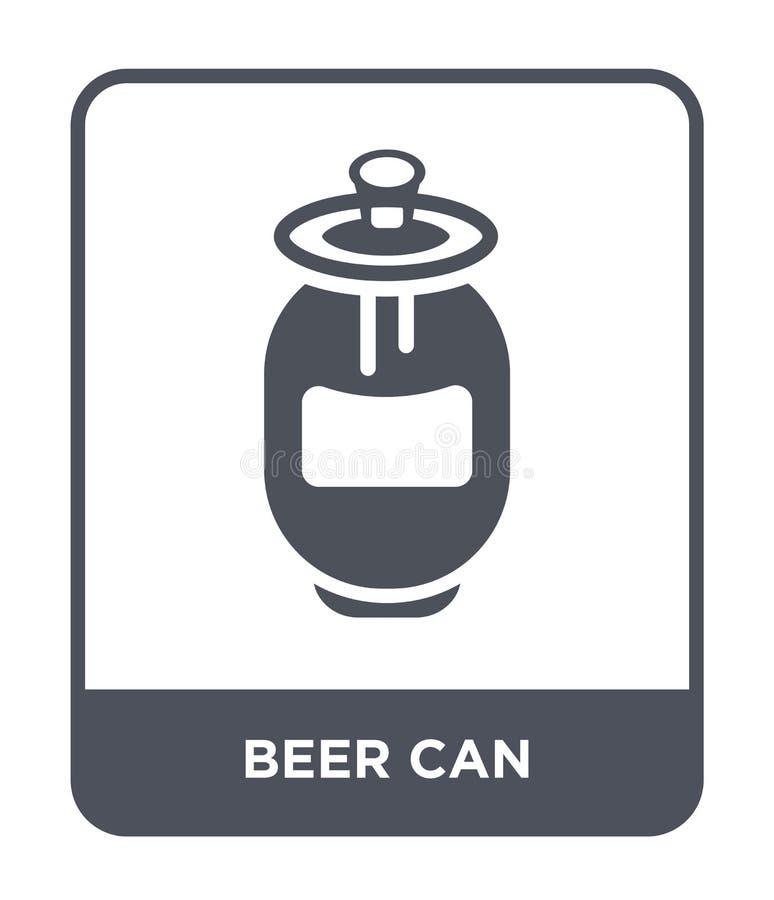 ícone da lata de cerveja no estilo na moda do projeto Ícone da lata de cerveja isolado no fundo branco a cerveja pode plano simpl ilustração do vetor