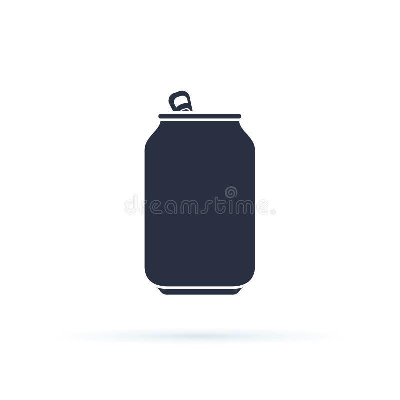 Ícone da lata de soda Ícone da lata de soda isolado no fundo Pictograma liso moderno, negócio, mercado ilustração do vetor