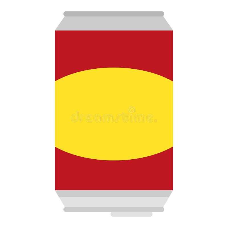 Ícone da lata de lata da soda, estilo liso ilustração do vetor