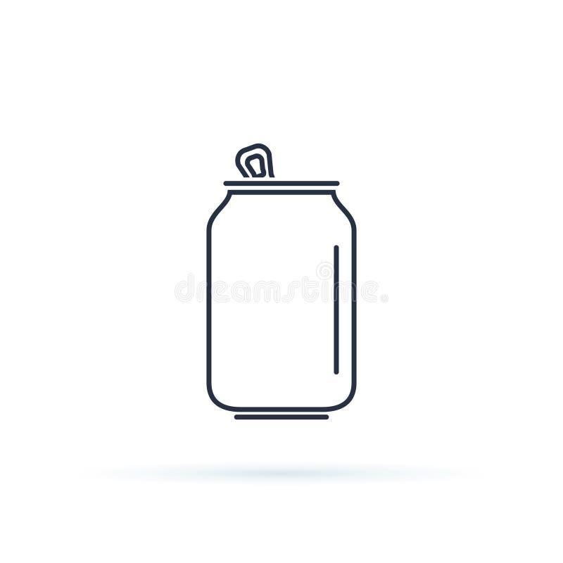 Ícone da lata de soda isolado no fundo Pictograma liso moderno, negócio, mercado, conceito do Internet ilustração royalty free