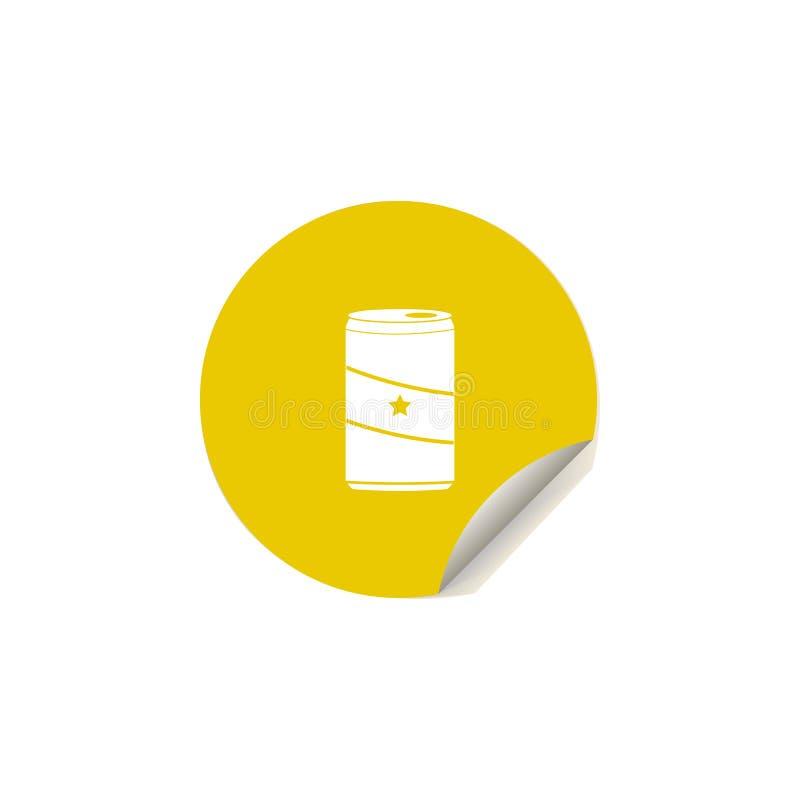 ícone da lata de soda no estilo da etiqueta Um do ícone da coleção do prazer do verão pode ser usado para UI, UX ilustração stock