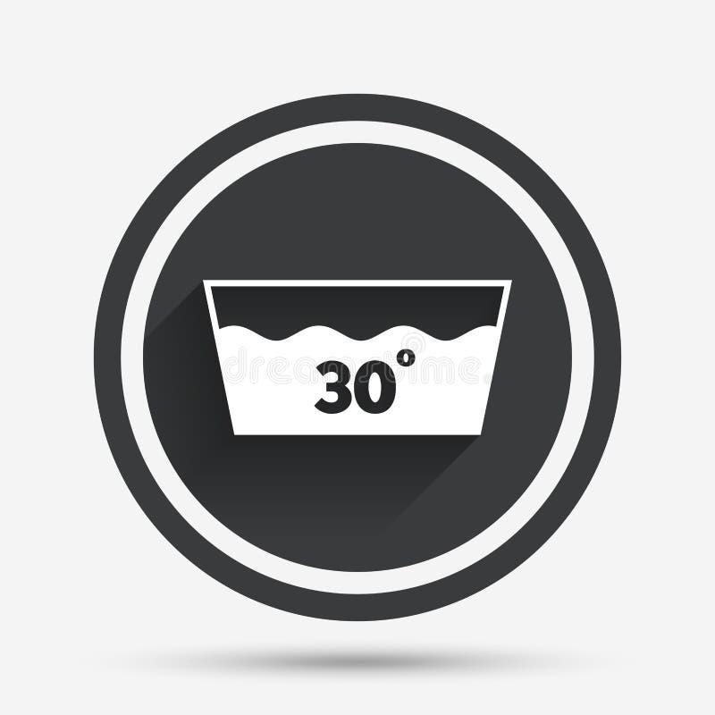 Ícone da lavagem Máquina lavável em 30 graus de símbolo ilustração royalty free