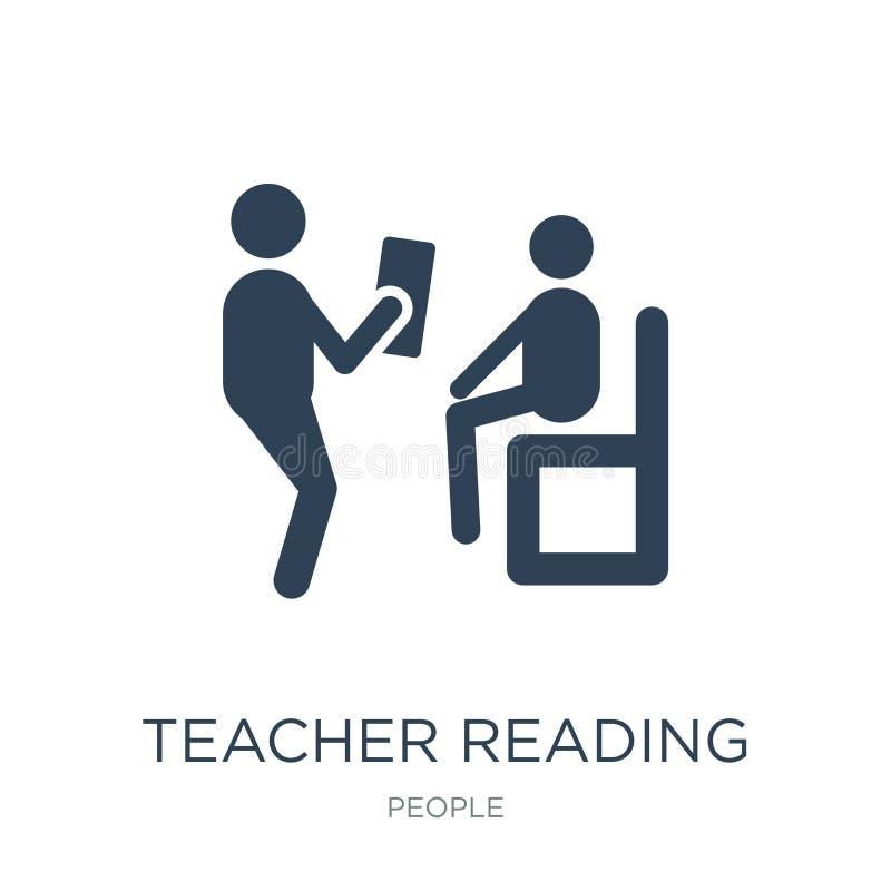 ícone da leitura do professor no estilo na moda do projeto Ícone de Reading do professor isolado no fundo branco ícone do vetor d ilustração royalty free