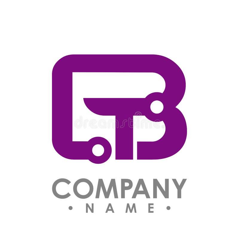 Ícone da letra B e do T Logotipo esperto, computador e dados da tecnologia com referência a ilustração stock