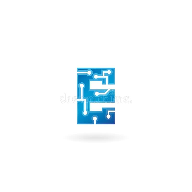 Ícone da letra E O logotipo esperto, o computador e os dados da tecnologia relacionaram o negócio, a olá!-tecnologia e o inovativ ilustração royalty free
