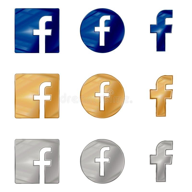 Ícone da letra F Ícone social dos meios Ícone de Facebook ilustração do vetor