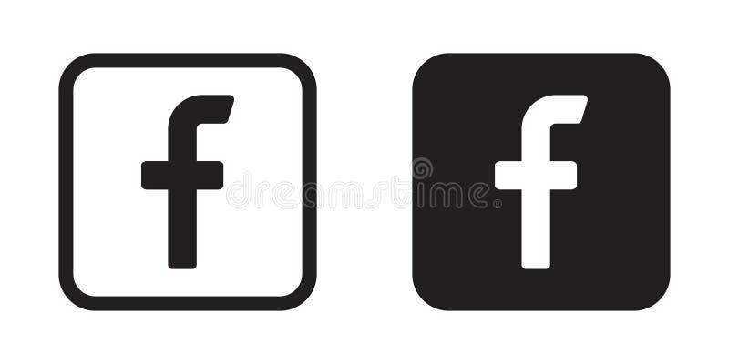 Ícone da letra F Ícone social dos meios Ícone de Facebook ilustração royalty free