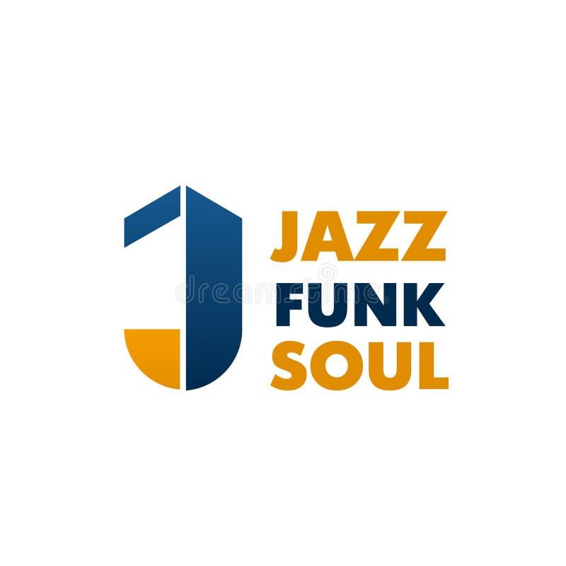 Ícone da letra J do vetor da escola de música da alma do funk do jazz ilustração royalty free
