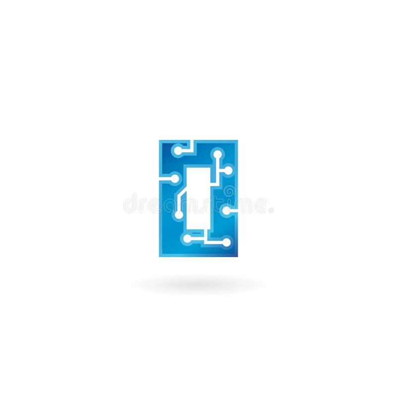 Ícone da letra O O logotipo esperto, o computador e os dados da tecnologia relacionaram o negócio, a olá!-tecnologia e o inovativ ilustração royalty free