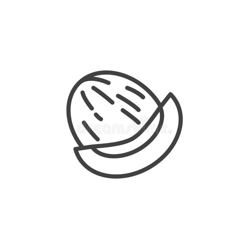 Ícone da linha de melão de Honeydew ilustração do vetor