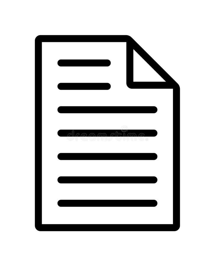 Ícone da linha do documento de arquivo ilustração royalty free