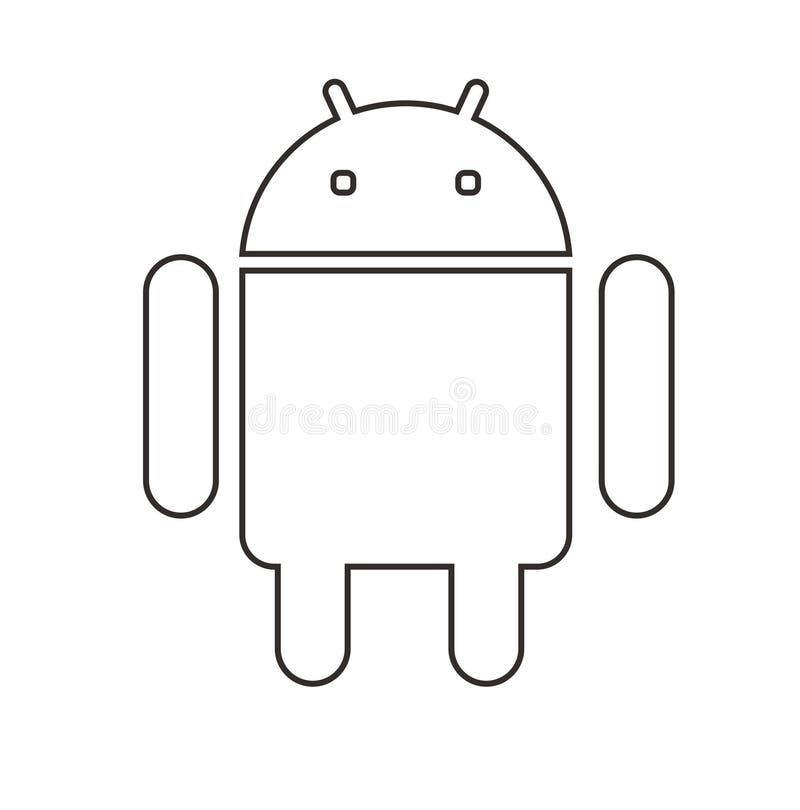 Ícone da linha telefônica de Android completamente ilustração royalty free