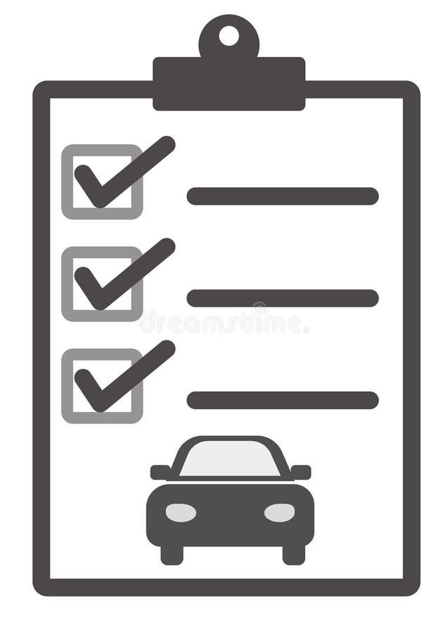 Ícone da lista da manutenção do carro no fundo branco Estilo liso Carro s ilustração do vetor