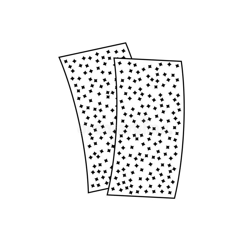 Ícone da lixa Duas partes de papel áspero da areia ilustração stock