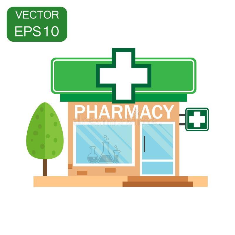 Ícone da loja da drograria da farmácia Farmácia da loja do conceito do negócio ilustração do vetor